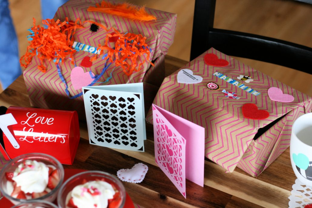 Homemade kid's Valentine's mail boxes to receive their Valentine's Day cards