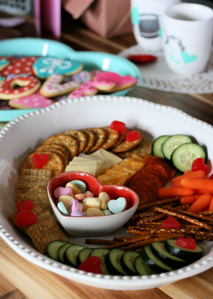 Valentine Party table set with snacks