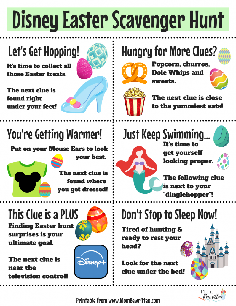 Printable Disney Easter scavenger hunt clues