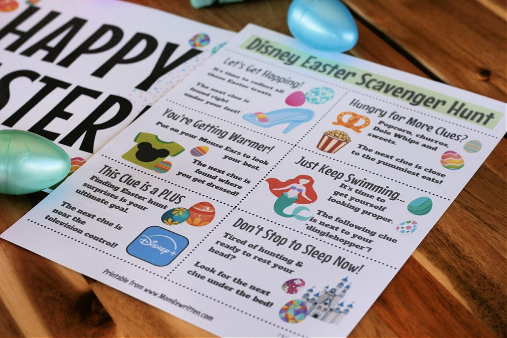 Printed Disney Easter scavenger hunt clues