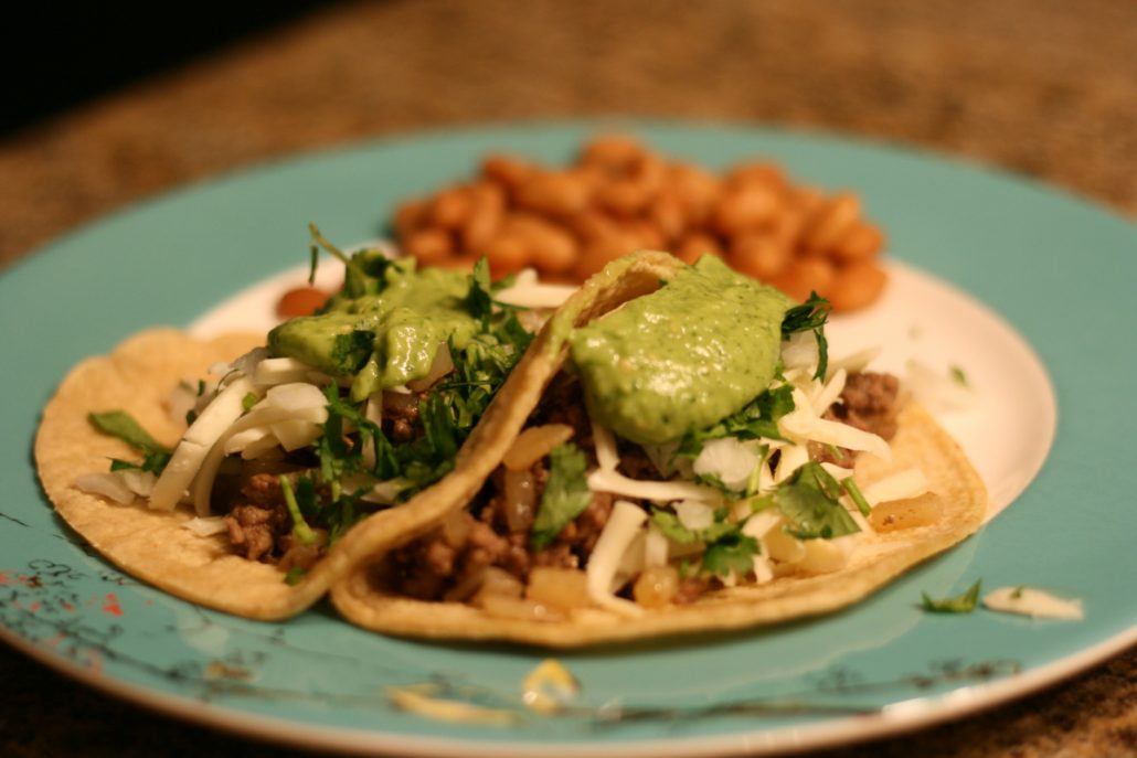 Tomatillo salsa on tacos
