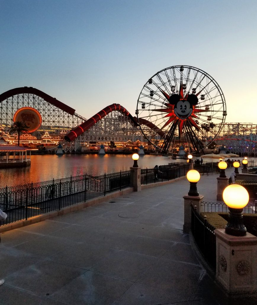 Pixar Pier at night