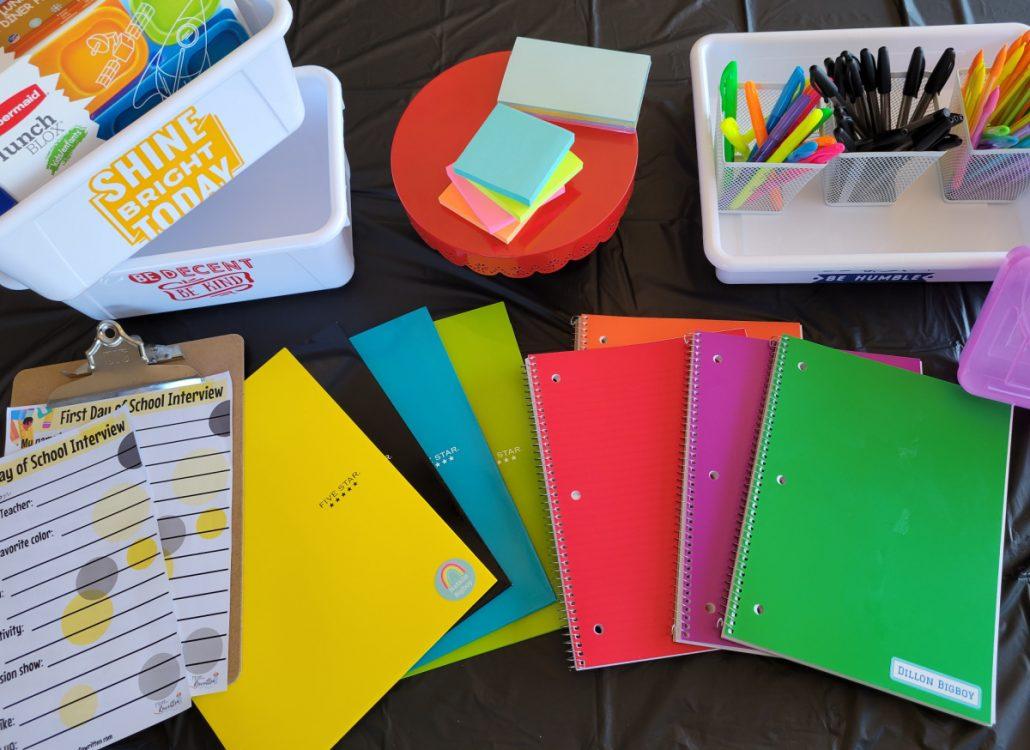 School supplies on tabletop