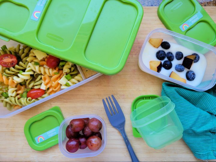 Rubbermaid LunchBlox containers filled with lunch foods for a kid